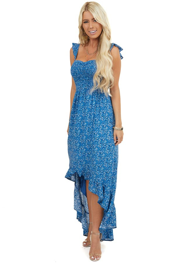 Cornflower Blue Floral Smocked Bust Dress with Ruffle Detail