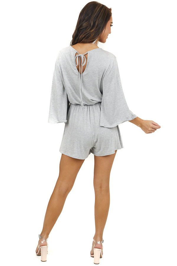 Heather Grey Jersey Knit Romper with Long Flare Sleeves