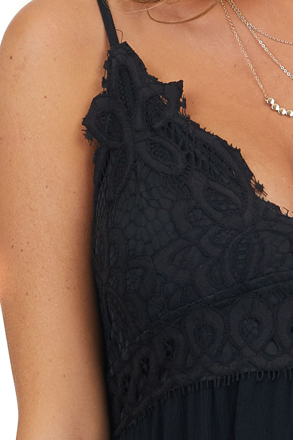Black Maxi Dress with Lace Bust and Adjustable Straps