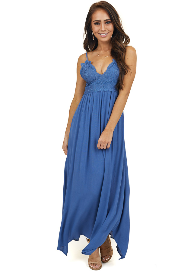 Dusty Blue Maxi Dress with Lace Bust and Adjustable Straps