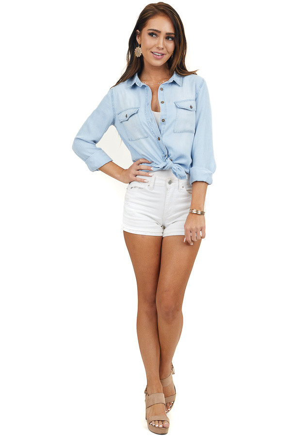 Light Wash Button Up Long Sleeve Top with Chest Pockets