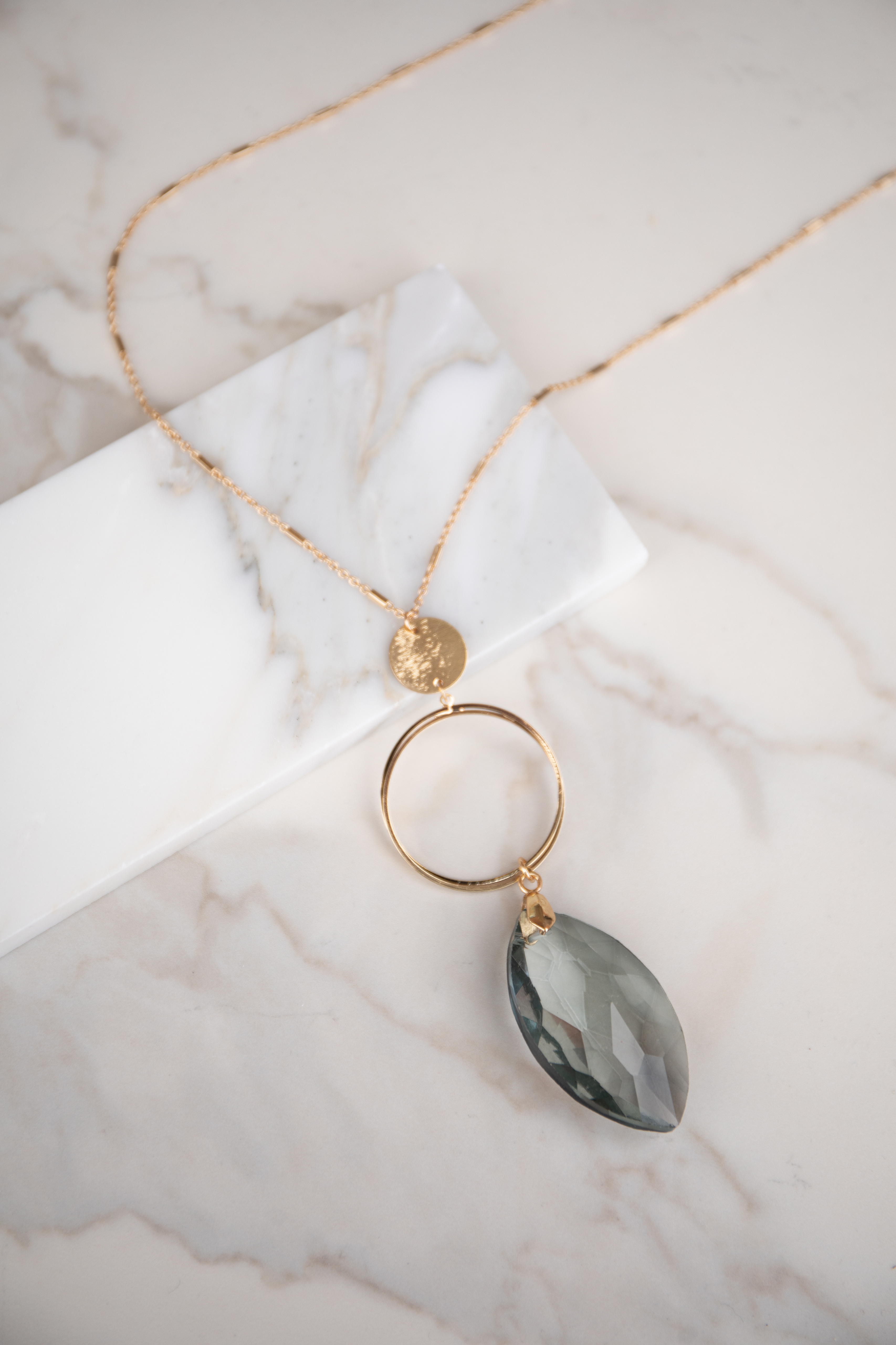 Gold Long Necklace with Large Grey Crystal Pendant