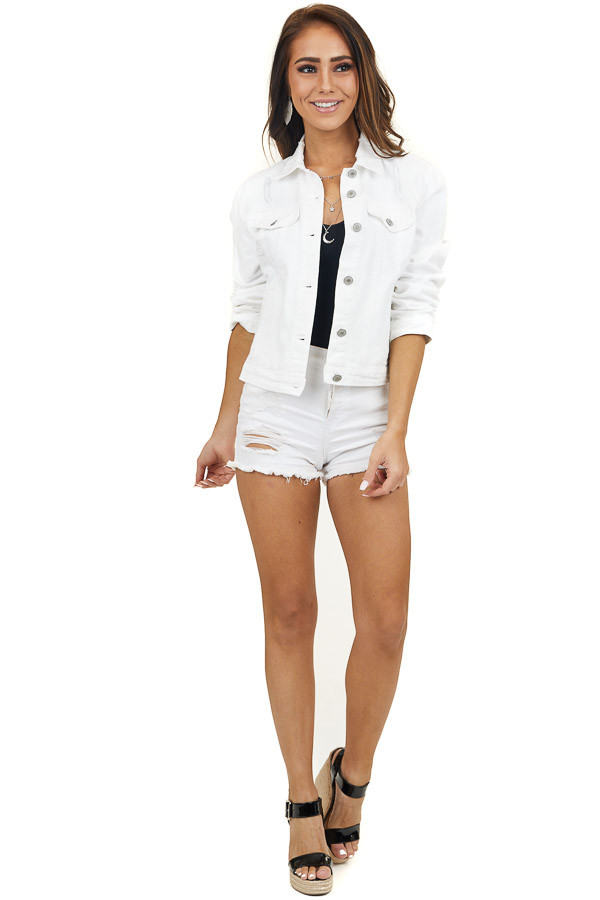 White Distressed Button Up Denim Jacket with Pockets