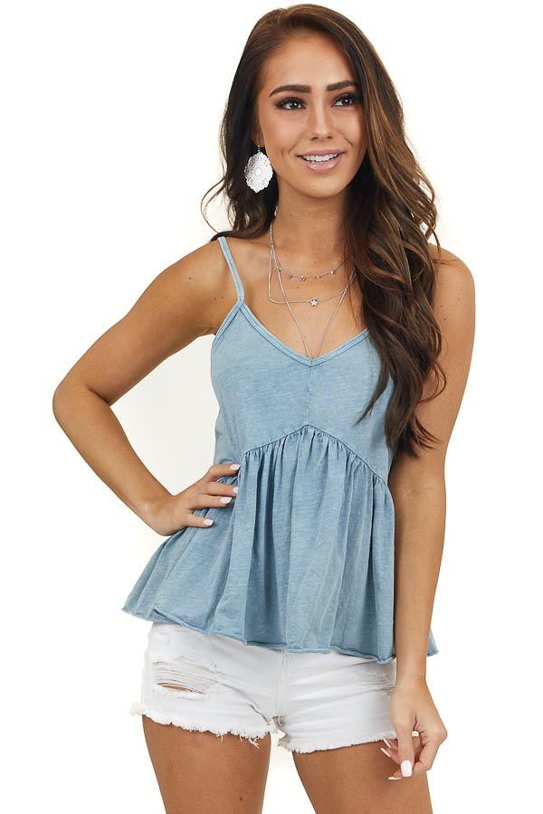Faded Ocean Blue Babydoll Tank Top with Adjustable Straps
