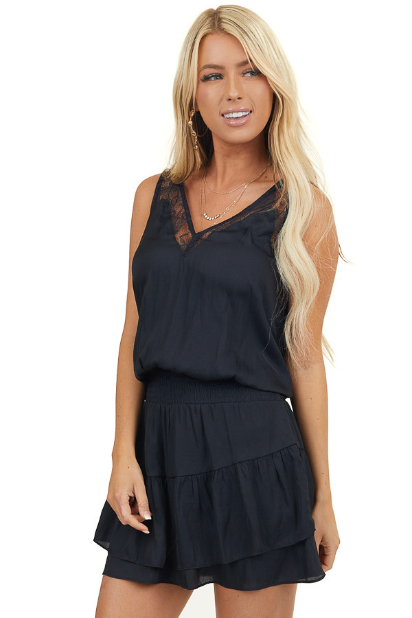 Black Woven Mini Dress with Lace Straps and Smocked Waist