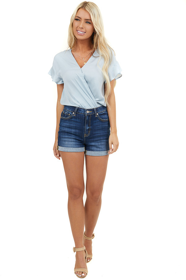 Baby Blue Surplice Short Sleeve Blouse with Bubble Hemline