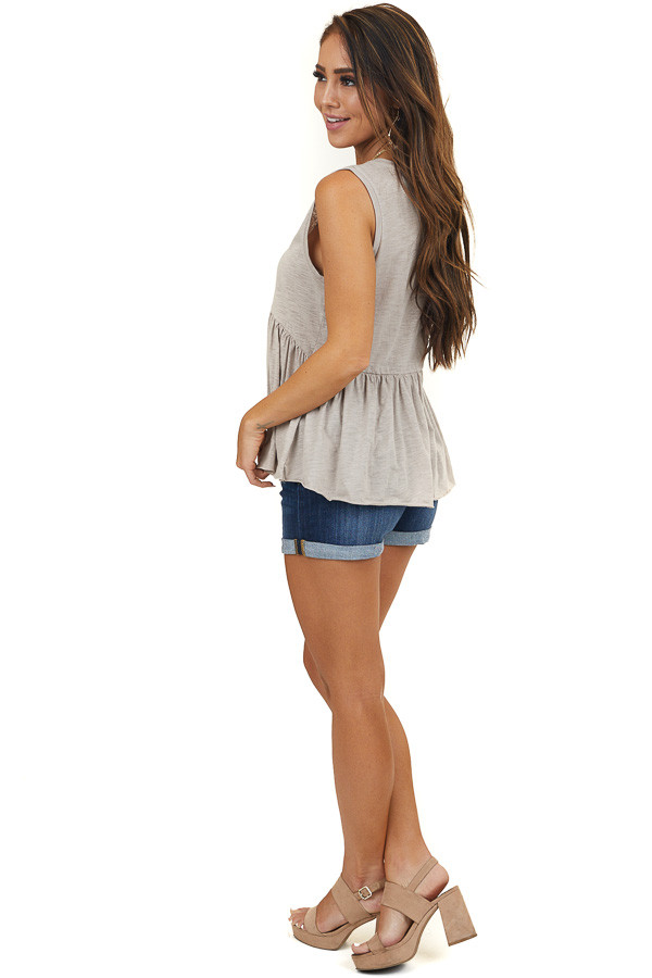 Oatmeal Babydoll Knit Tank Top with V Neckline