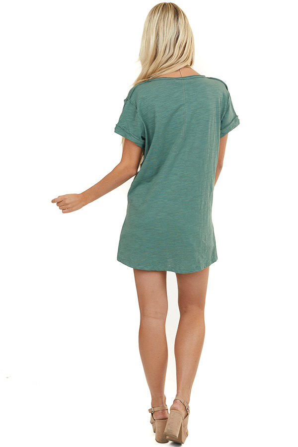 Heather Green Short Sleeve Knit Top with Raw Edge Details