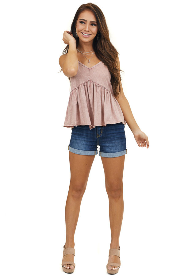 Faded Dusty Rose Babydoll Tank Top with Adjustable Straps