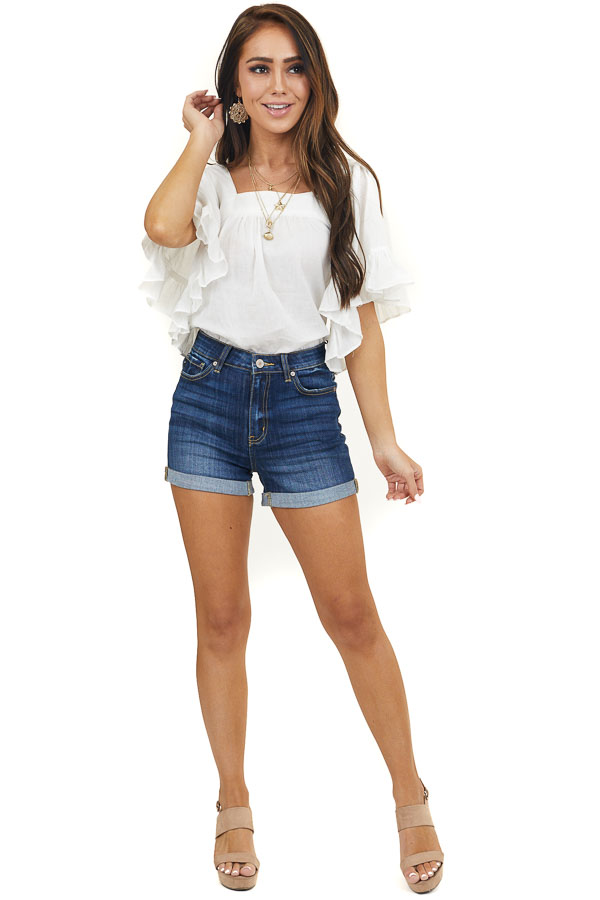 Ivory Square Neck Blouse with Short Ruffle Flare Sleeves