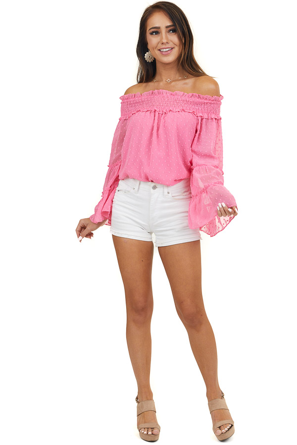 Hot Pink Off the Shoulder Top with Long Tiered Bell Sleeves