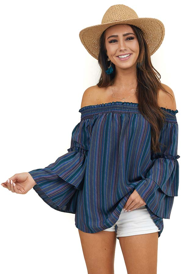 Navy Striped Off the Shoulder Top with Long Tiered Sleeves