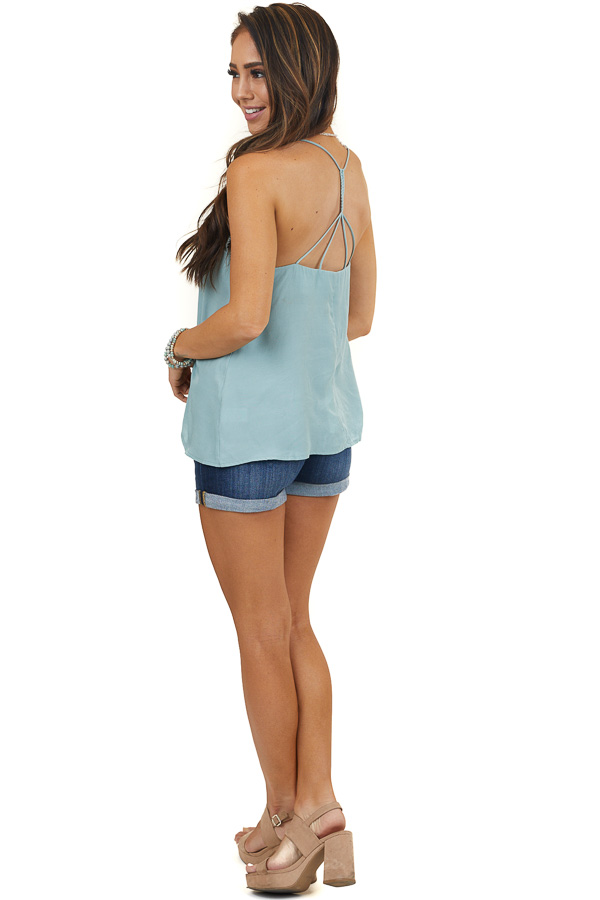 Sage Woven Tank Top with Lace Detail and Back Braided Strap