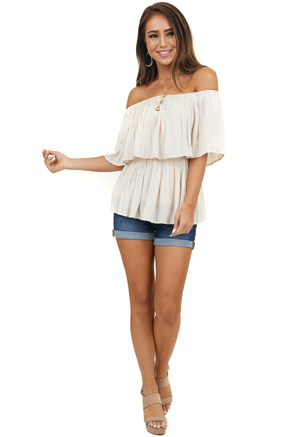Cream Pleated Off the Shoulder Woven Top with Overlay Detail