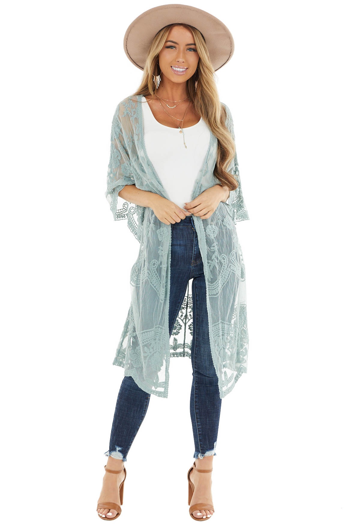 Sage Sheer Lace Half Sleeve Kimono with Scalloped Details