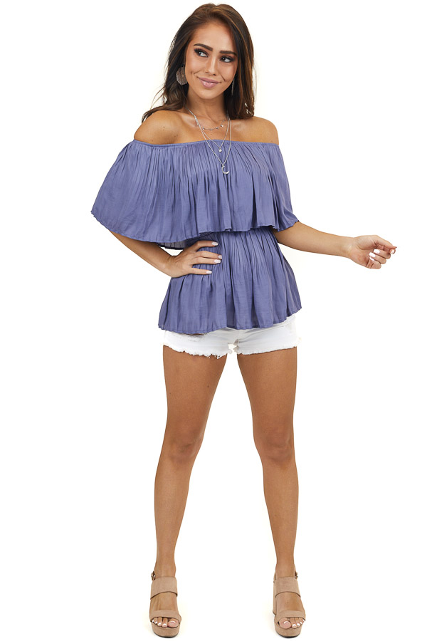 Violet Pleated Off the Shoulder Woven Top with Overlay Detail