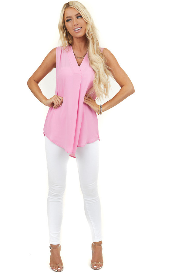 Pink Sleeveless Loose Woven Top with V Neckline