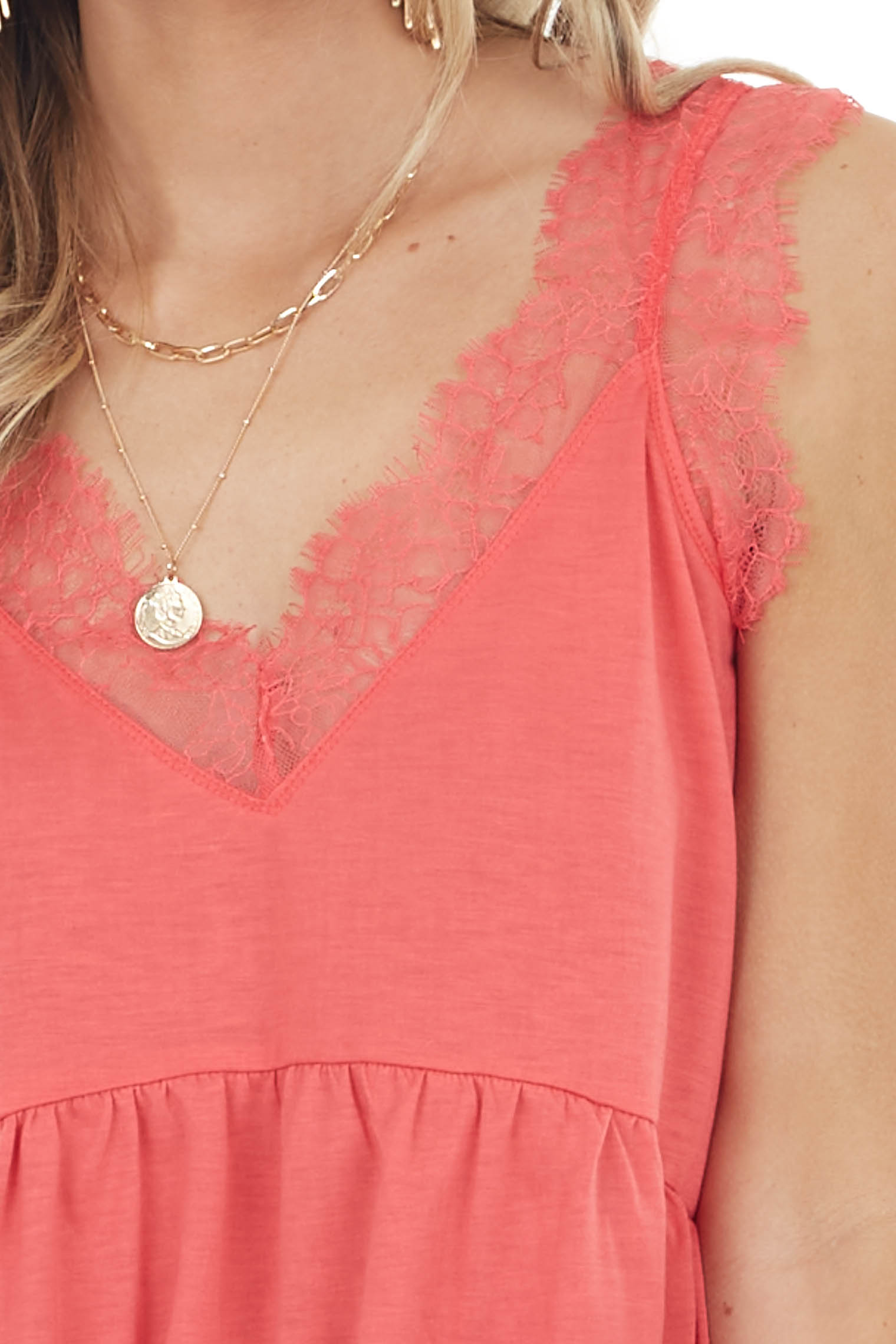 Coral Sleeveless Drop Waist Top with Eyelash Lace Straps
