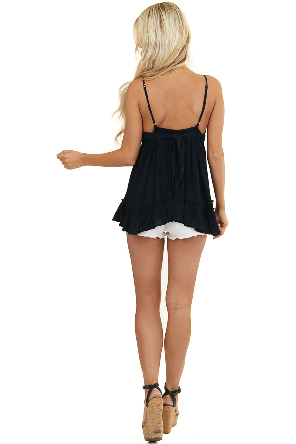 Black Crochet Lace Babydoll Cami Top with Adjustable Straps