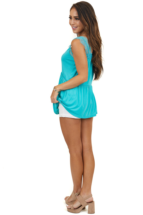 Turquoise Sleeveless Drop Waist Top with Eyelash Lace Straps