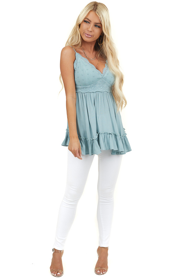 Sage Crochet Lace Babydoll Cami Top with Adjustable Straps