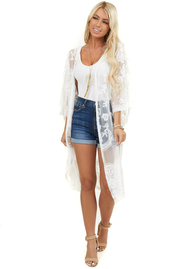 Ivory Sheer Lace Half Sleeve Kimono with Scalloped Details