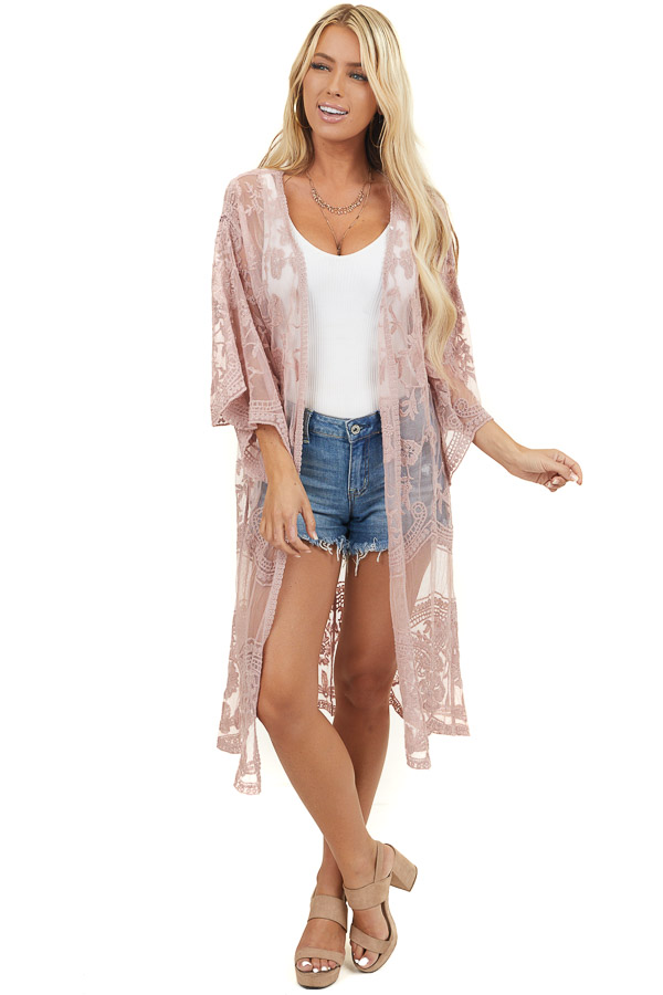Dusty Rose Lace Half Sleeve Kimono with Scalloped Details