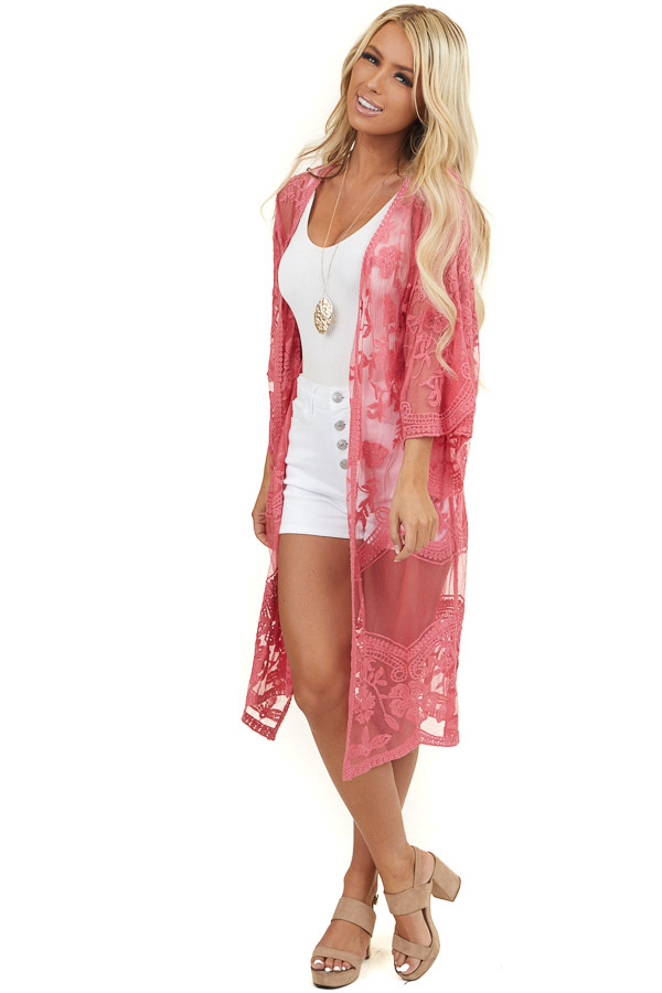 Dark Pink Lace Half Sleeve Kimono with Scalloped Details