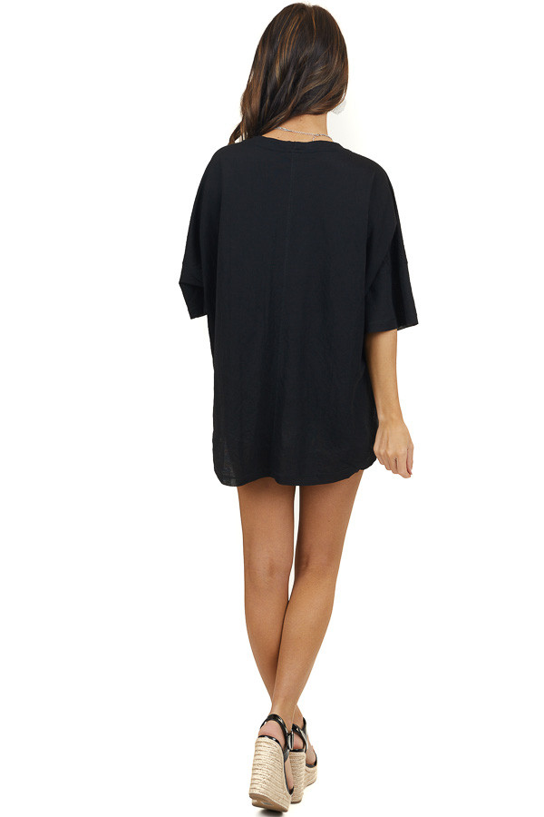 Black Short Sleeve Button Up Knit Top With Knot Tie Detail