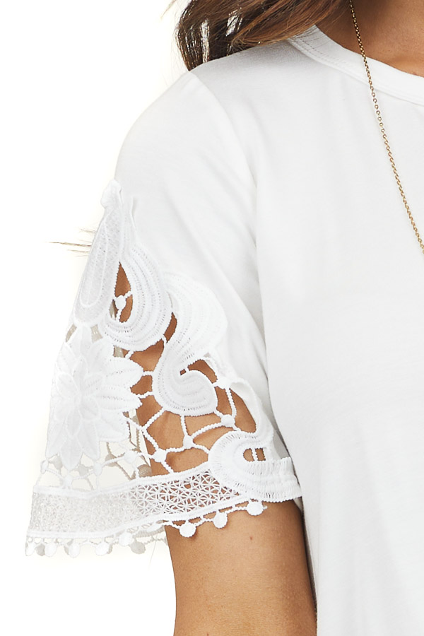 White Front Twist Knit Top with Short Crochet Lace Sleeves