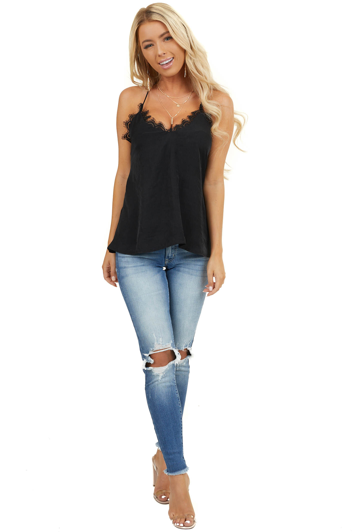 Black Woven Tank Top with Lace Detail and Back Braided Strap