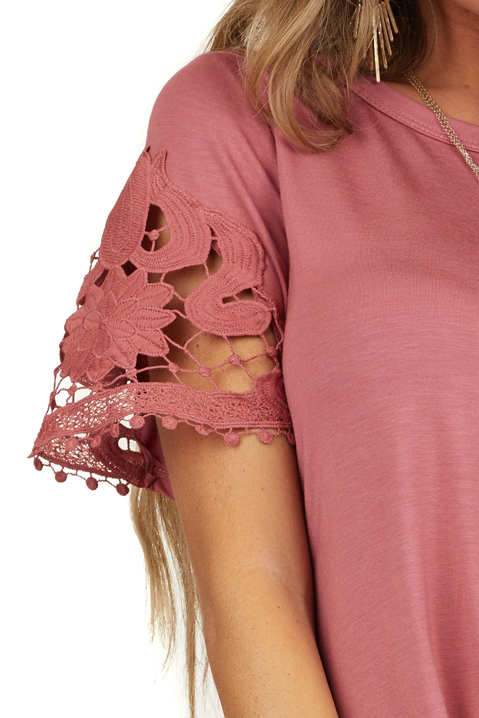 Marsala Front Twist Knit Top with Short Crochet Lace Sleeves