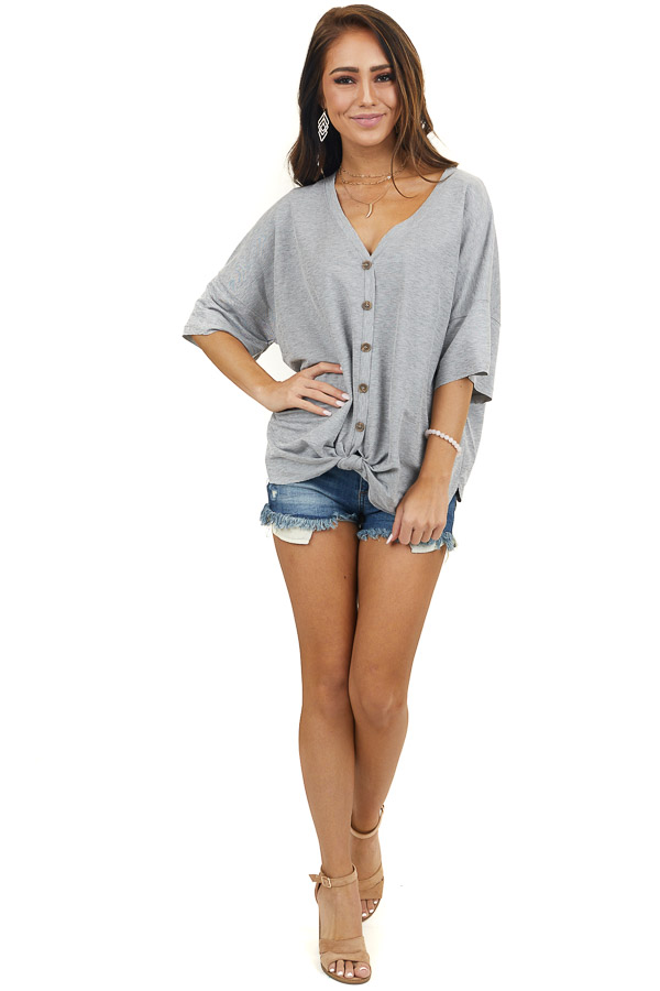 Grey Short Sleeve Button Up Knit Top With Knot Tie Detail