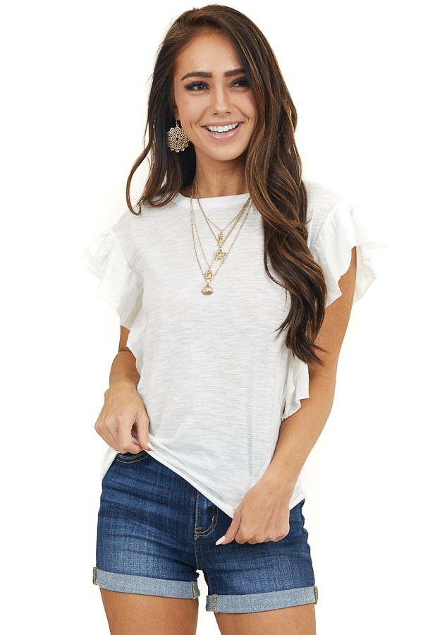 Ivory Knit Top with Short Sleeve and Ruffle Details
