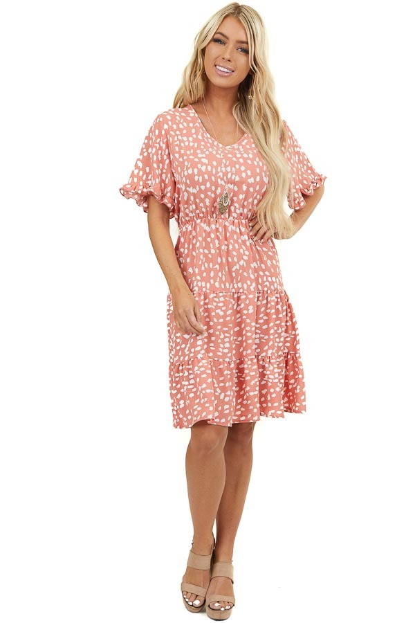 Coral Printed Short Woven Dress with Short Ruffled Sleeves