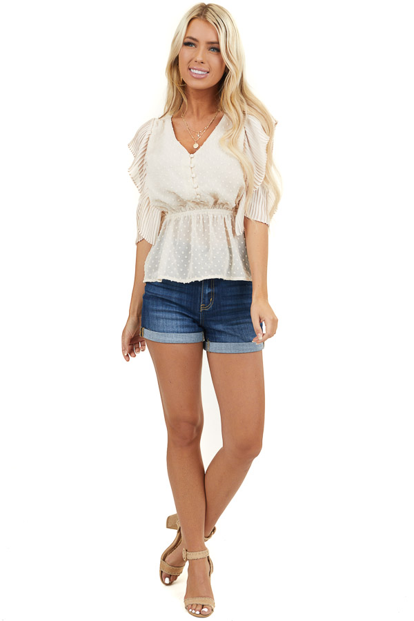 Ivory Swiss Dot Button Up Peplum Top with Pleated Sleeves