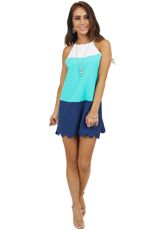 Navy and Aqua Colorblock Short Dress with Scalloped Hemline