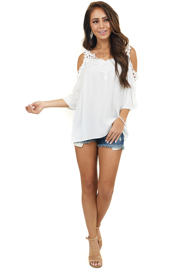 White Half Sleeve Crocheted Blouse with Cold Shoulders