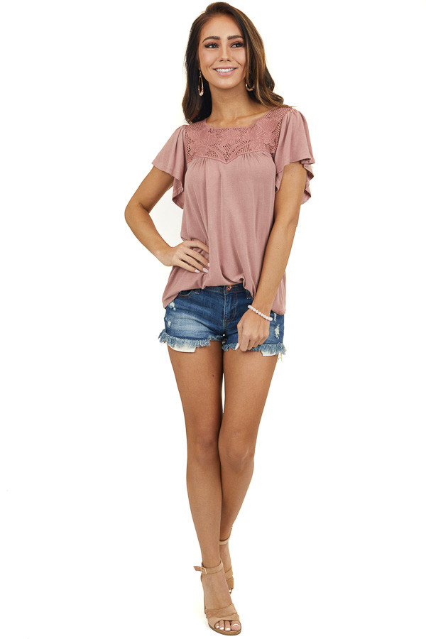 Dusty Rose Short Sleeve Knit Top with Floral Lace Details