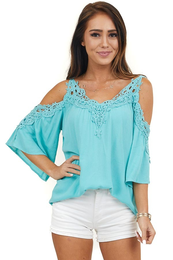 Aqua Blue Half Sleeve Crocheted Blouse with Cold Shoulders