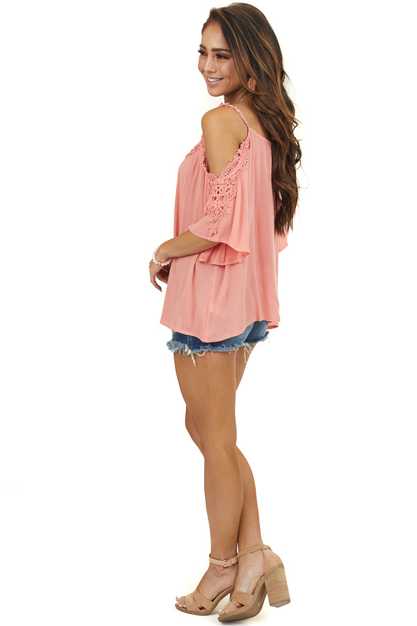Coral Half Sleeve Crocheted Blouse with Cold Shoulders