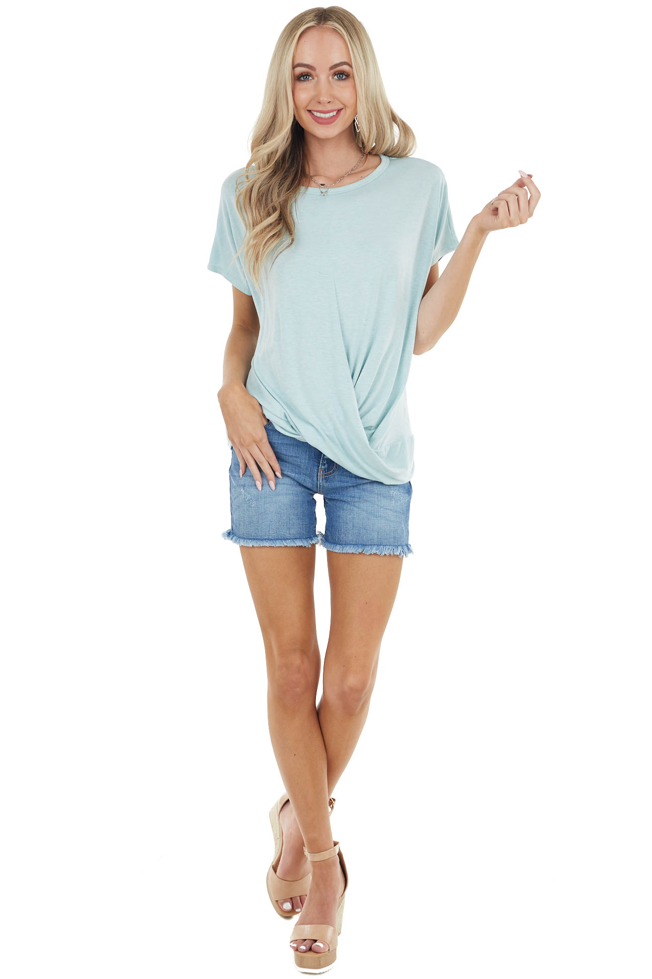 Seafoam Short Sleeve Soft Knit Top with Front Twist Detail