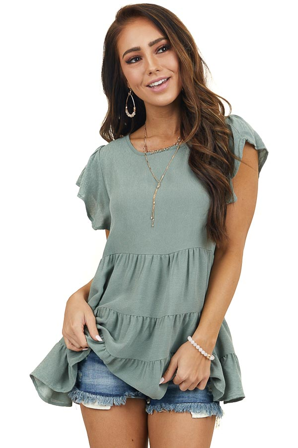 Dark Sage Tiered Woven Top with Short Flutter Sleeves
