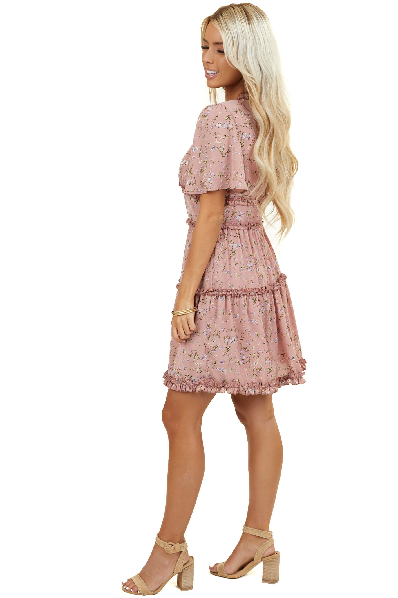 Dusty Rose Floral Print Short Tiered Dress with Ruffles