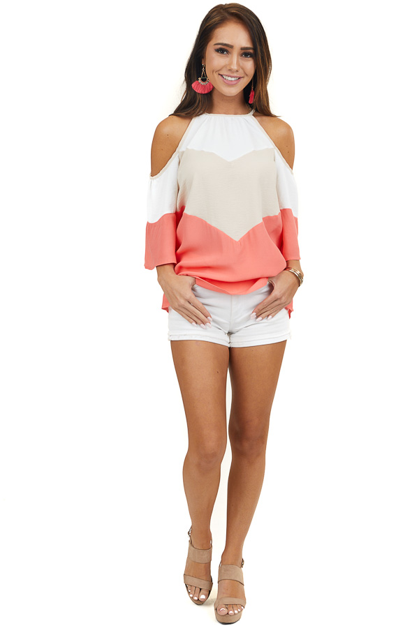 Coral and Beige Colorblock Cold Shoulder Top with Back Tie