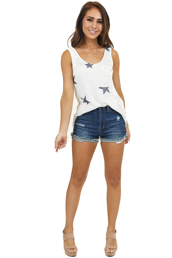 Ivory Star Print Knit Tank Top with Front Side Pocket Detail