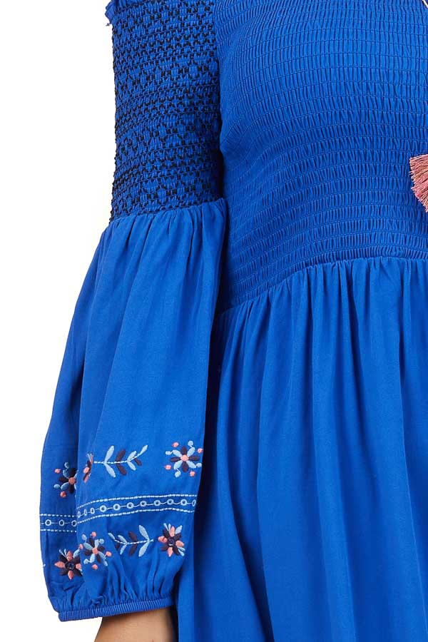 Royal Blue Off Shoulder Smocked Mini Dress with Embroidery