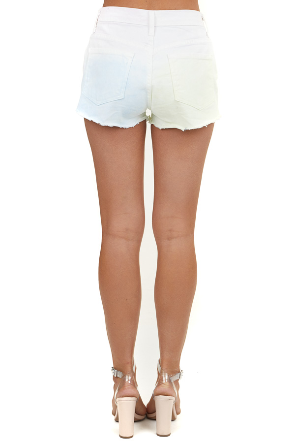 Pastel Multicolor Tie Dye Shorts with Distressing Details