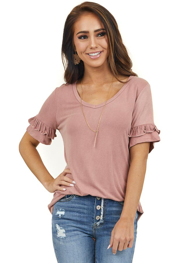 Dusty Rose Short Sleeve Knit Top with Ruffle Detail