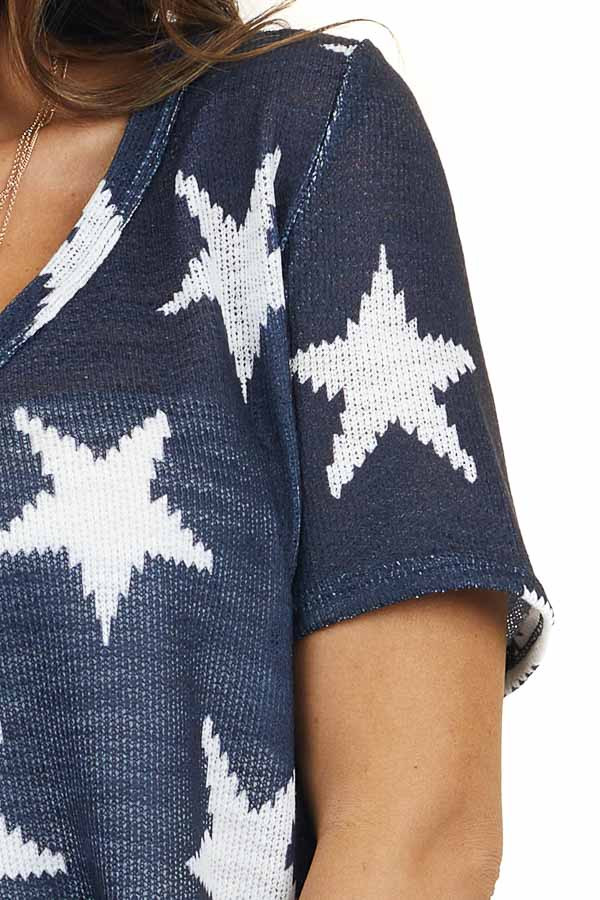 Navy and Off White Star Print V Neck Short Sleeve Knit Top